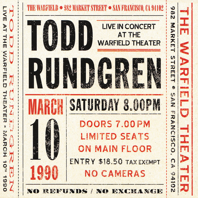 Live at The Warfield Theater San Francisco: March 10th 1990