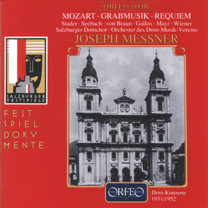 "Mozart: Grabmusik, Requiem in D Minor & Church Sonata in E-Flat Major ""Epistle Sonata"" (Live) Albümü"