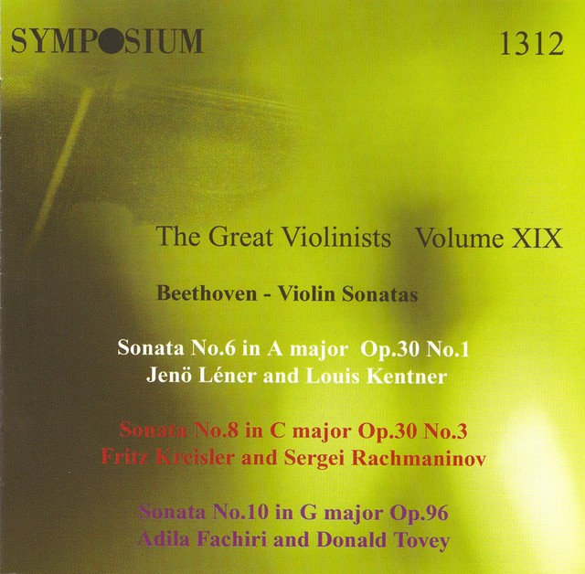 The Great Violinists, Vol. 19 (1927) Albumcover