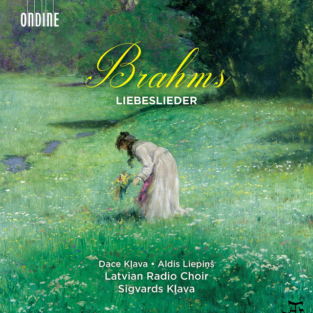 Album cover for Brahms: Liebeslieder by Johannes Brahms, Latvian Radio Choir, Sigvards Klava, Dace Kļava, Aldis Liepiņš