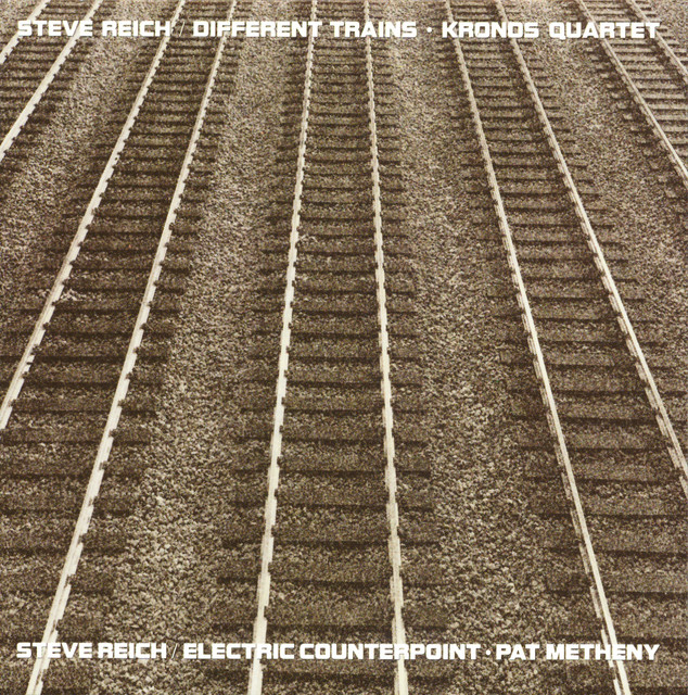 The album cover for Different Trains: America, Before the War by Steve Reich, Kronos Quartet.