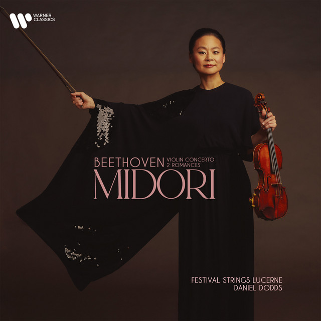 Album cover for Beethoven: Violin Concerto & Romances Nos 1 & 2 by Ludwig van Beethoven, Midori, Daniel Dodds, Lucerne Festival Strings