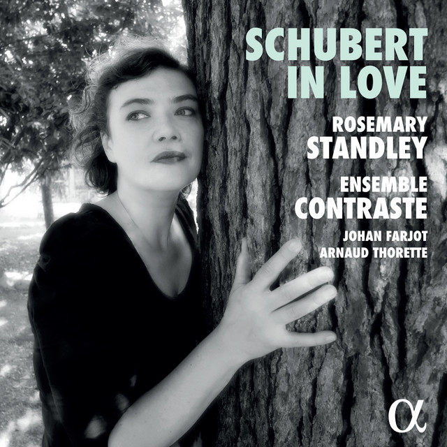 Album cover for Schubert in Love by Franz Schubert, Rosemary Standley, Ensemble Contraste, Johan Farjot, Arnaud Thorette