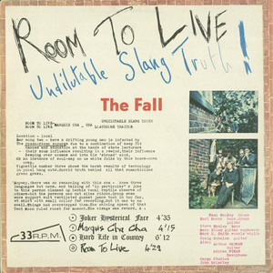 Room To Live: Undilutable Slang Truth! album